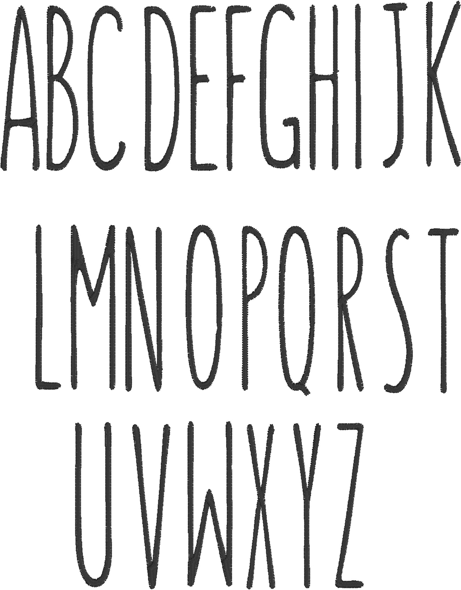 Tall Skinny Farmhouse Style Embroidery font- 1 and a half inches