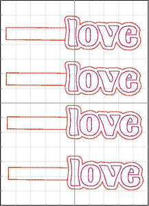 Love lettering snap tab for 4x4 and 5x7 hoops