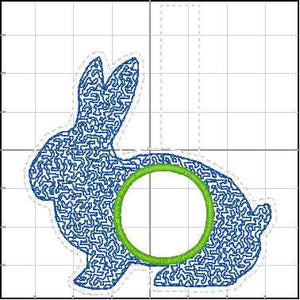 Monogram BLANK Rabbit tag snap tab for 4x4 hoops - Add your own image or lettering