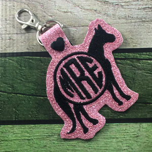 Monogram BLANK Horse tag snap tab for 4x4 hoops - Add your own lettering
