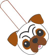 Pug Puppy Face snap tab In the Hoop Embroidery Design