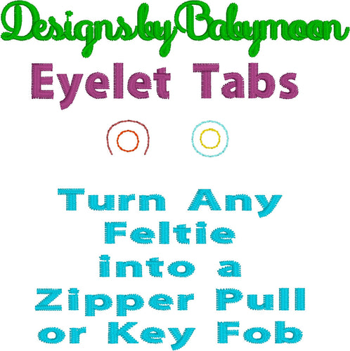 Eyelet Tab - DIY - Make your own charm-two styles- turn a feltie into zipper pull or key fob charm