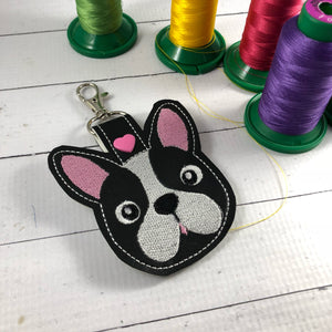 Boston Terrier Face snap tab In the Hoop embroidery design