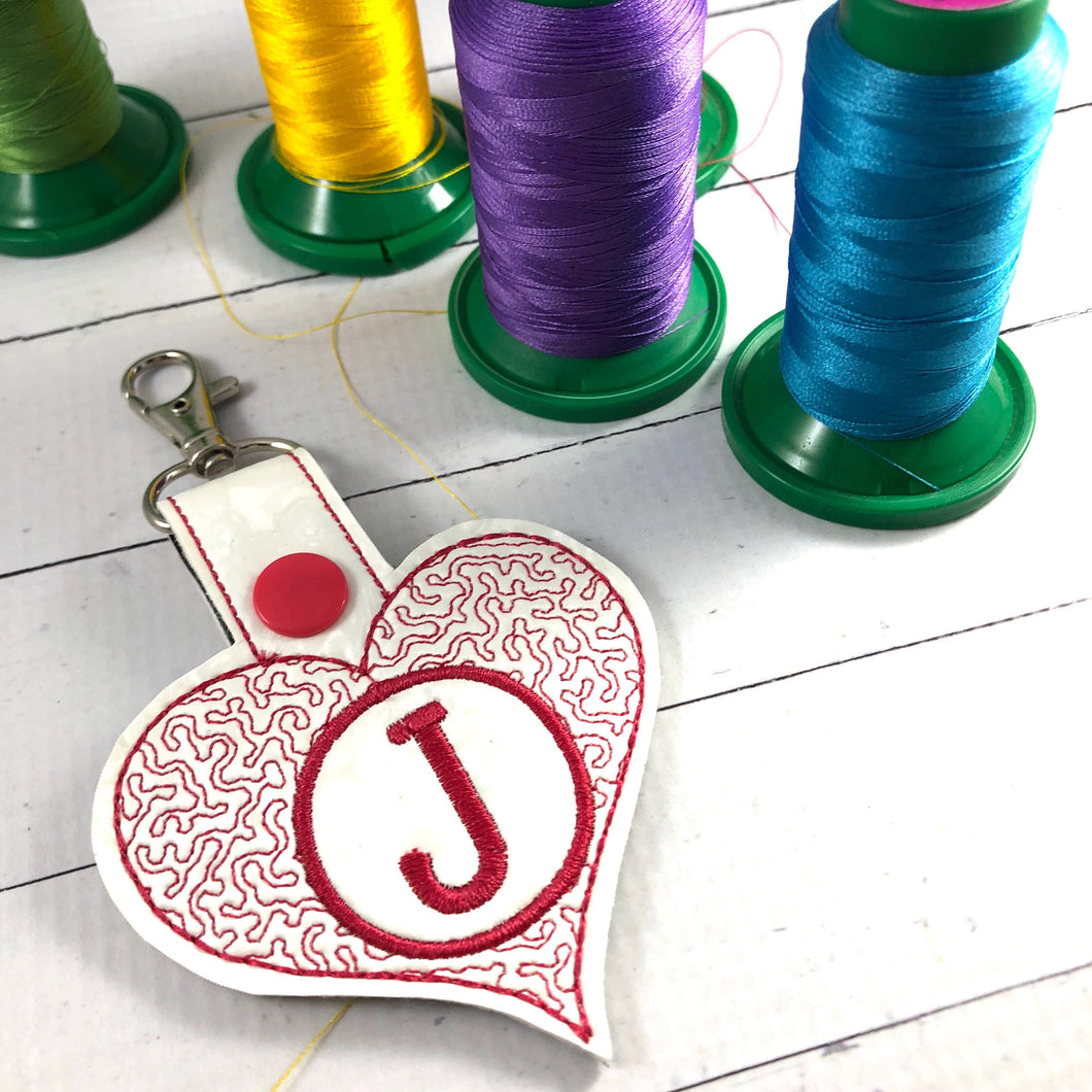 Monogram BLANK Stippled Heart snap tab for 4x4 hoops