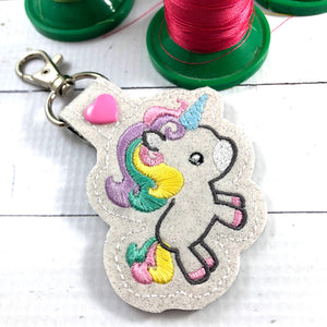Unicorn snap tab ITH embroidery design