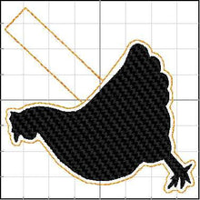Chicken Silhouette ITH snap tab for 4x4 hoops-BBED-Backpack tag embroidery design-ith hen snap tab or key fob tag