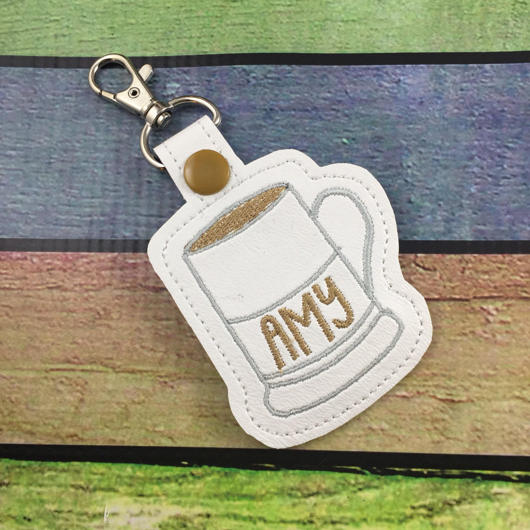 Moravian Coffee Cup snap tab for 4x4 hoops