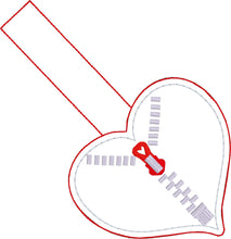 Zipper Heart snap tab for 4x4 hoops- CHD awareness Embroidery Design