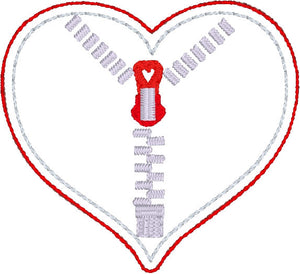 Zipper Heart Feltie for 4x4 hoops CHD awareness