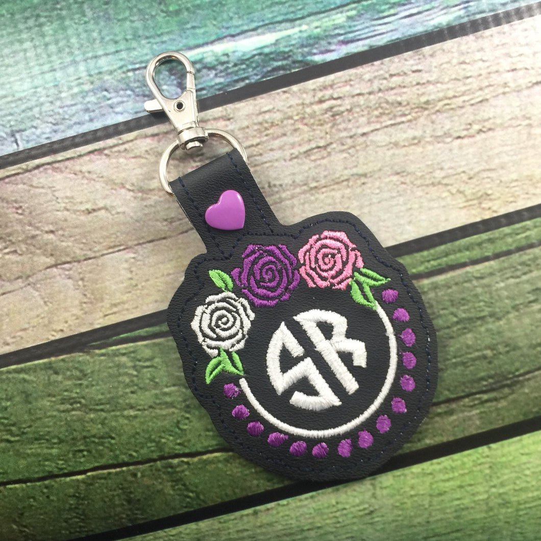 Monogram BLANK Roses And Pearls snap tab tag for 4x4 hoops