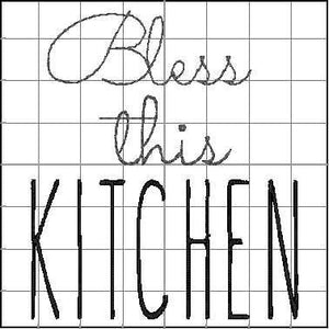 Bless This Kitchen Design - 4x4 or larger hoops - Kitchen Towel or Potholder Embroidery Design