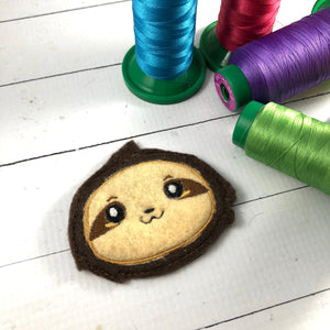 Sloth Patch Applique Feltie embroidery design