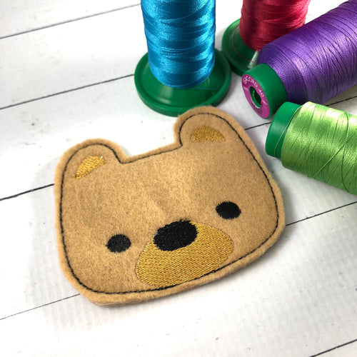 Fuzzy Bear Patch Feltie embroidery design