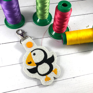 Puffin Snap Tab In the Hoop Embroidery design