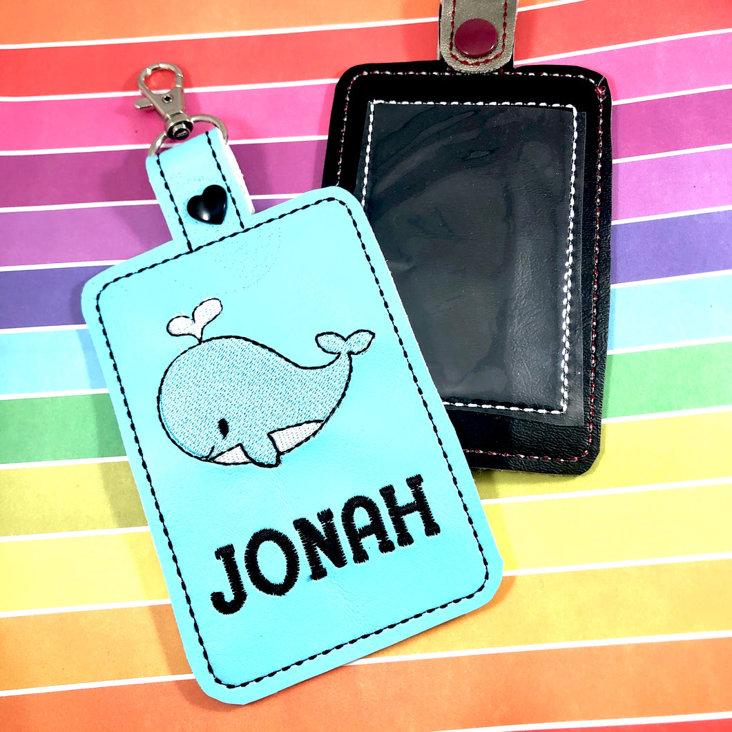 Whale Double Sided Luggage Tag Design for 5x7 Hoops