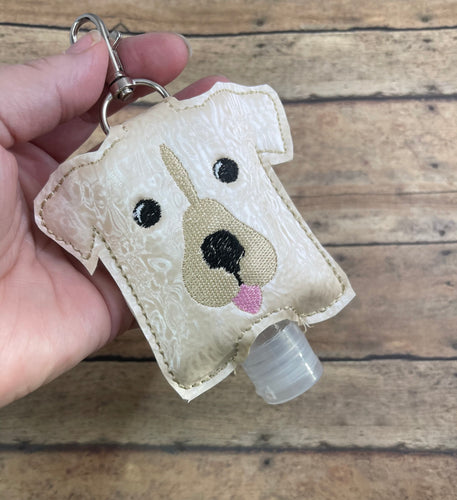 Doggie Hand Sanitizer Holder Snap Tab Version In the Hoop Embroidery Project 2 oz for 5x7 hoops