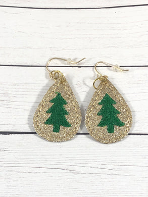 Christmas Tree Teardrop Earrings embroidery design for Vinyl and Leather