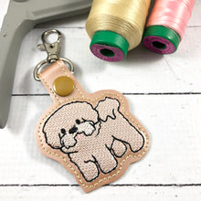 Bichon snap tab embroidery design