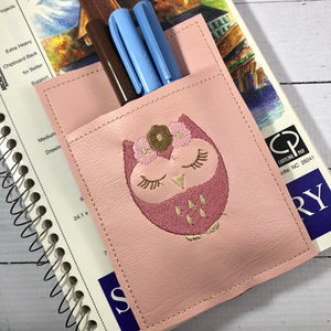 Cute Owl Design Pen Pocket In The Hoop (ITH) Embroidery Design