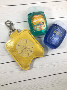 Sand Dollar Hand Sanitizer Holder Snap Tab In the Hoop Embroidery Project