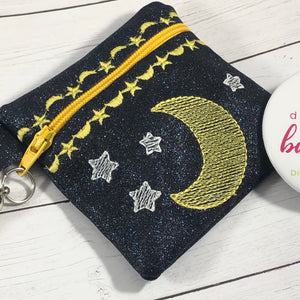 Moon and Stars Zipper Pouch 4x4