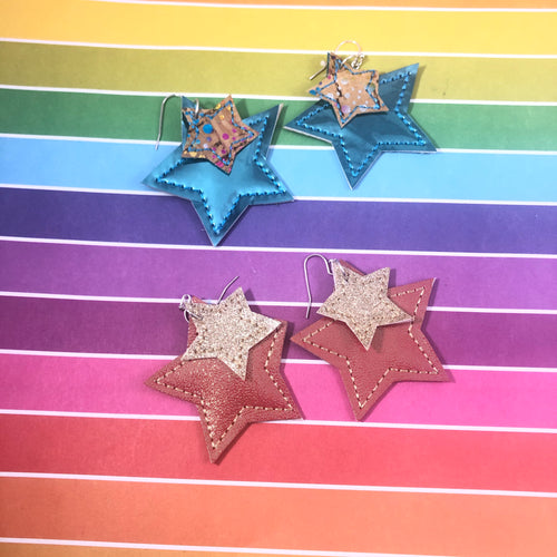 Star Earrings embroidery design for Vinyl and Leather
