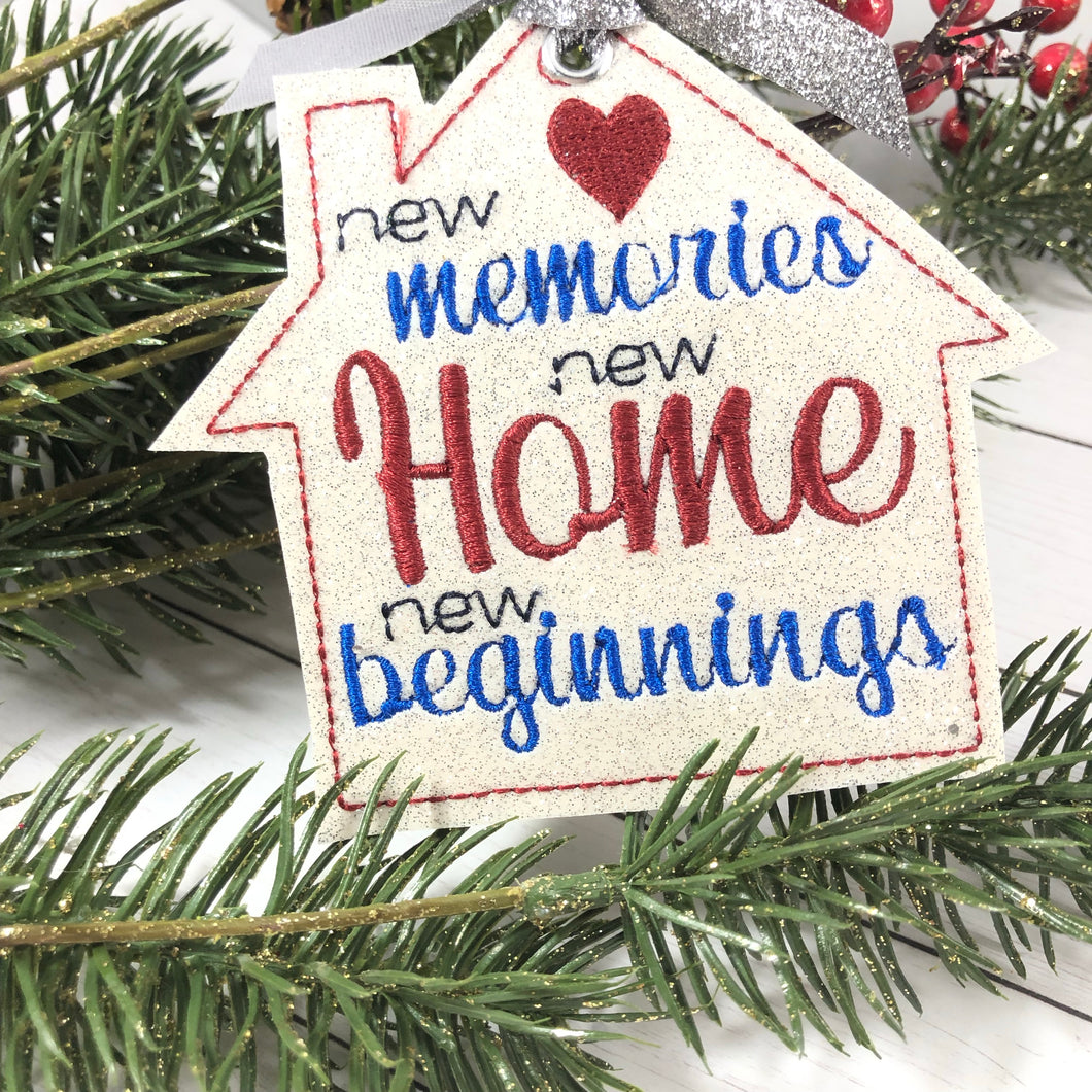 New Home New Beginnings Christmas Ornament for 4x4 hoops