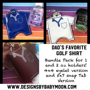 Golf Shirt Hand Sanitizer Holder Case BUNDLE SET Snap Tab and Eyelet Versions for 1 and 2 ounce sizes