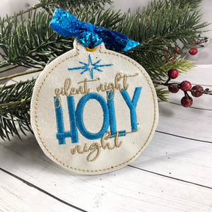 Silent Night Holy Night Christmas Ornament for 4x4 hoops