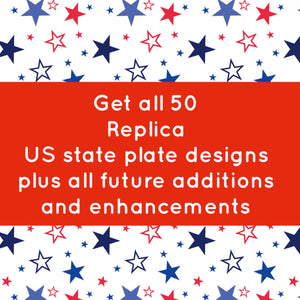 Complete Set US State Plate Embroidery Snap Tab Designs