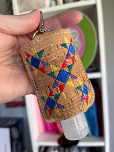 Patchwork Stars Hand Sanitizer Holder Snap Tab Version In the Hoop Embroidery Project 2 oz for 5x7 hoops