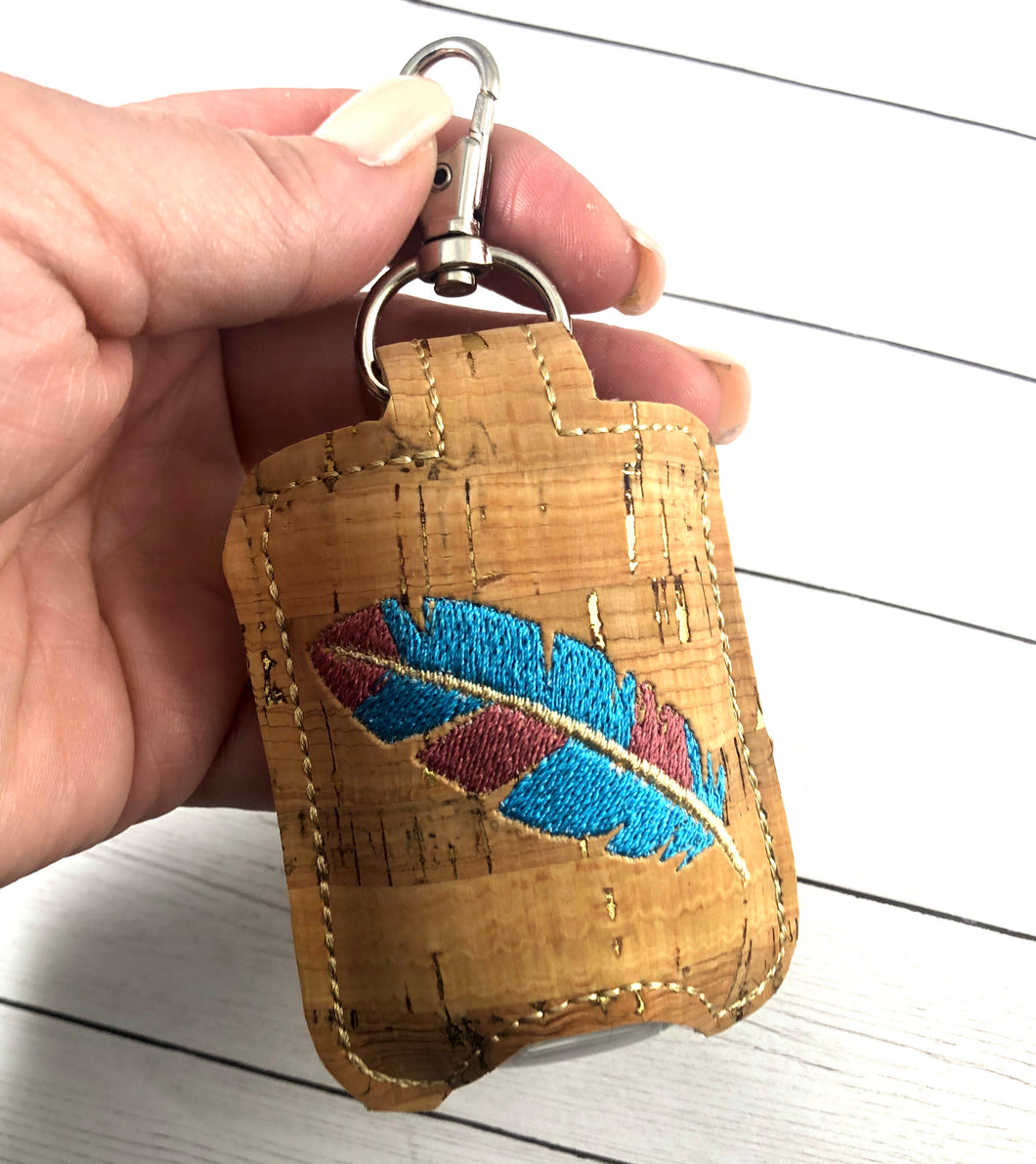 Feather Hand Sanitizer Holder Snap Tab In the Hoop Embroidery Project