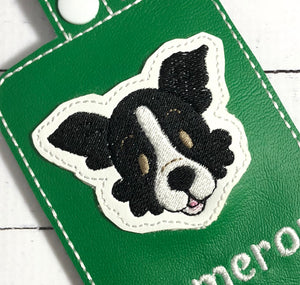 Border Collie Face Feltie embroidery design