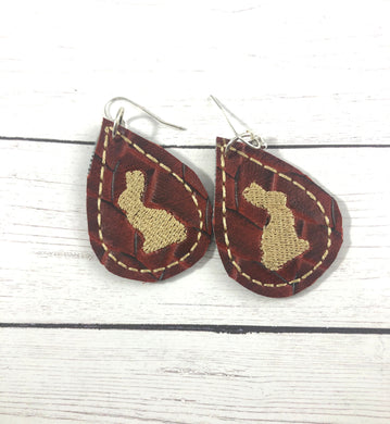 Chocolate Bunny Teardrop Earrings