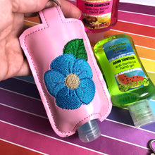 NEW SIZE Flower Hand Sanitizer Holder Snap Tab Version In the Hoop Embroidery Project 3 oz DT for 5x7 hoops