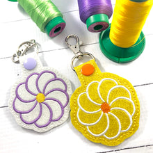 Flower Swirl snap tab embroidery design