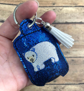 Polar Bear Hand Sanitizer Holder Eyelet Version In the Hoop Embroidery Project 1 oz BBW for 4x4 hoops