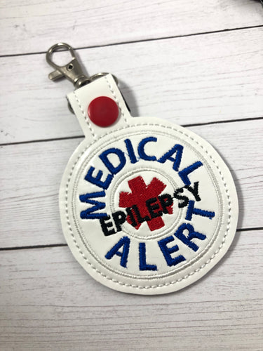 Medical Alert Epilepsy snap tab embroidery design