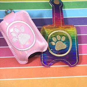 Paw Print Hand Sanitizer Holder Snap Tab In the Hoop Embroidery Project 1 oz BBW for 5x7 hoops