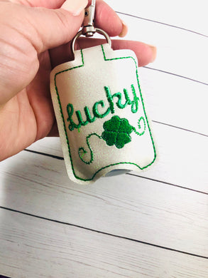 Lucky Four Leaf Clover St Patrick's Day Hand Sanitizer Holder Snap Tab In the Hoop Embroidery Project
