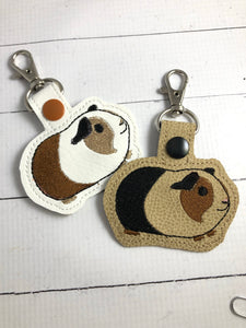 Guinea pig snap tab In the Hoop embroidery design