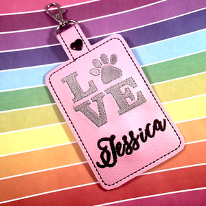 Paw Print LOVE Double Sided Luggage Tag Design for 5x7 Hoops