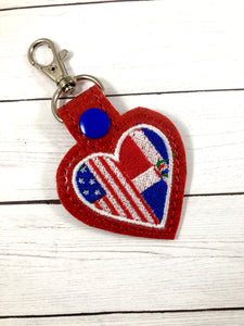 Dominican Republic America LOVE snap tab In The Hoop embroidery design