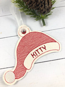 Santa Hat Sketch Fill Ornament for 4x4 hoops