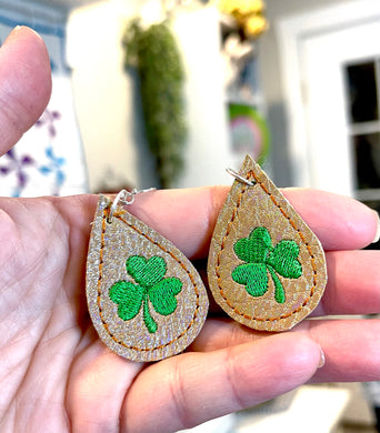 Clover Teardrop Earrings embroidery design for Vinyl and Leather