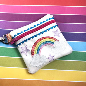 Rainbow Sparkle Zipper Pouch 4x4