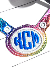 Stethoscope Yoke ID Tag - MONOGRAM APPLIQUE OVAL FRAME - In the Hoop Snap Tab Project