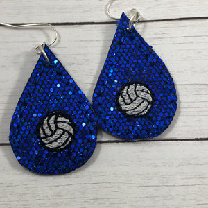 Volleyball Teardrop Earrings embroidery design