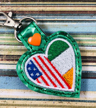Ireland America LOVE snap tab In The Hoop embroidery design
