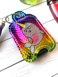 Narwhal Hand Sanitizer Holder Eyelet Version In the Hoop Embroidery Project 1 oz BBW for 4x4 hoops